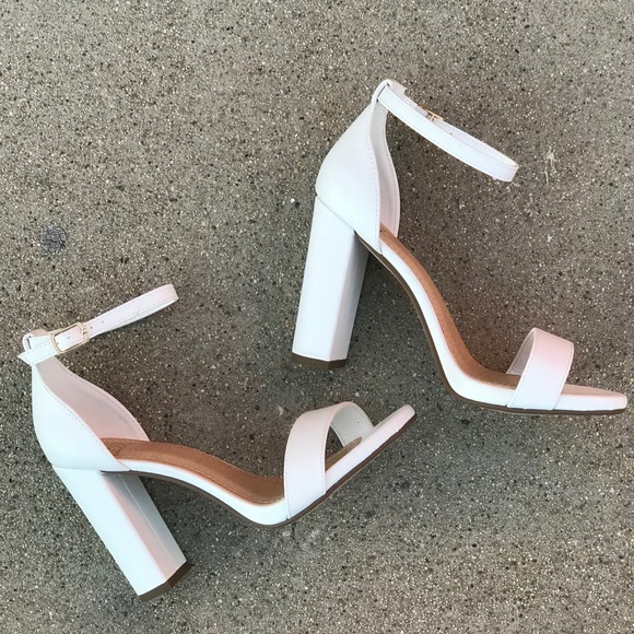 """dd553a3a334 Delicious Why Not Winter White Ankle Strap 4"""" Heel"""